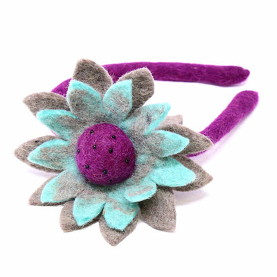 Hand Crafted Felt from Nepal: Headband, Sunflower Asst. Colors