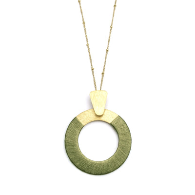 Kaia Necklace - Olive Disc