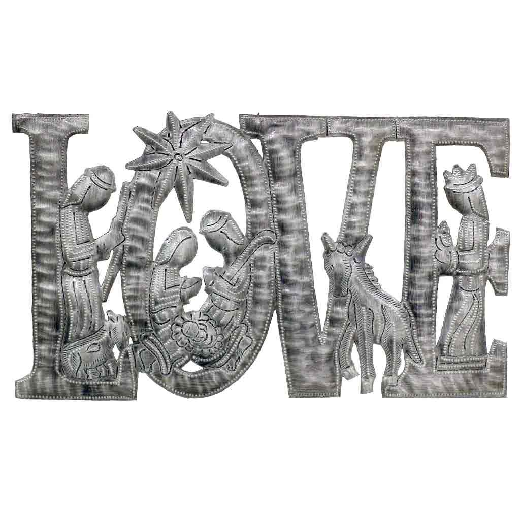 "LOVE with Nativity Haitian Metal Drum Wall Art (9"" x 14"")"