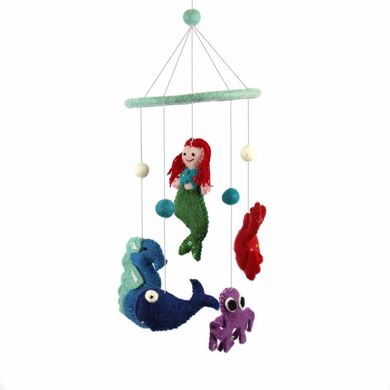 Hand Crafted Felt from Nepal: Mobile, Mermaid