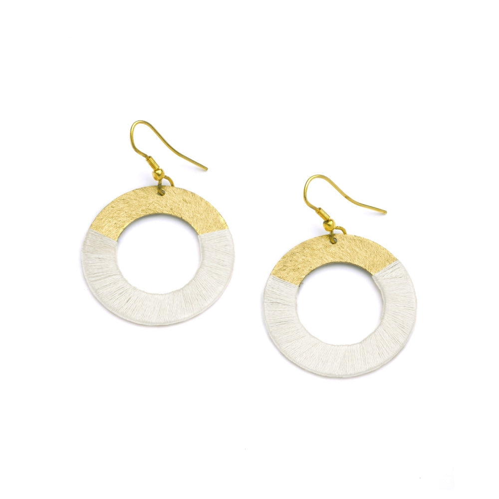 Kaia Earrings - White Discs