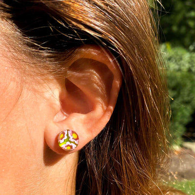 Round Glass Stud Earrings, Pink and Yellow Flowers - Pack of 3