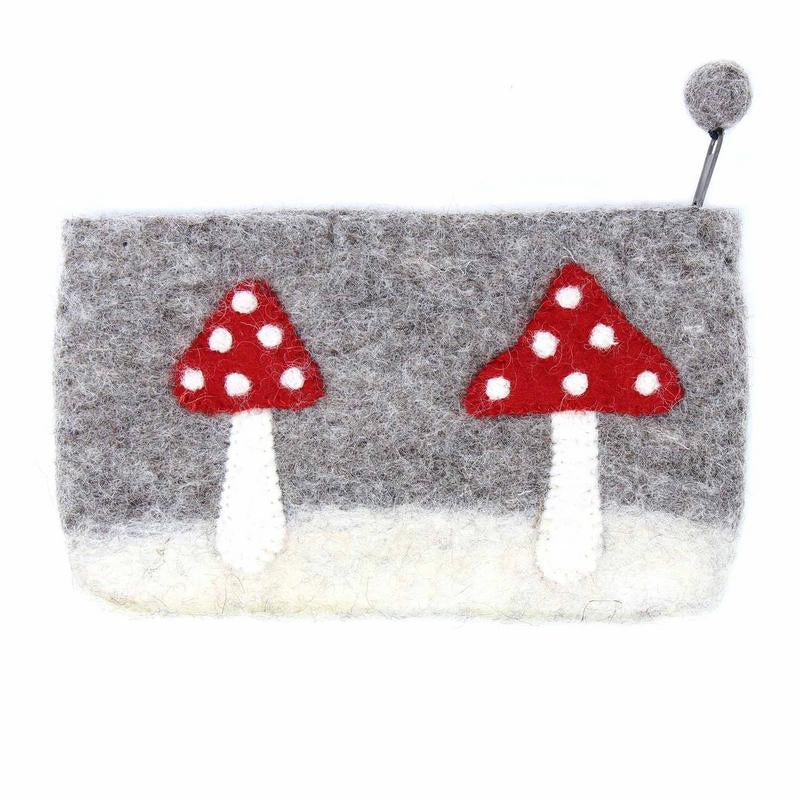 "Hand Crafted Felt Pouch from Nepal: 8"" x 4.5"", Mushroom"
