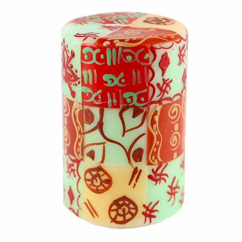 "Hand Painted Candles in ""Owoduni"" Design (pillar)"