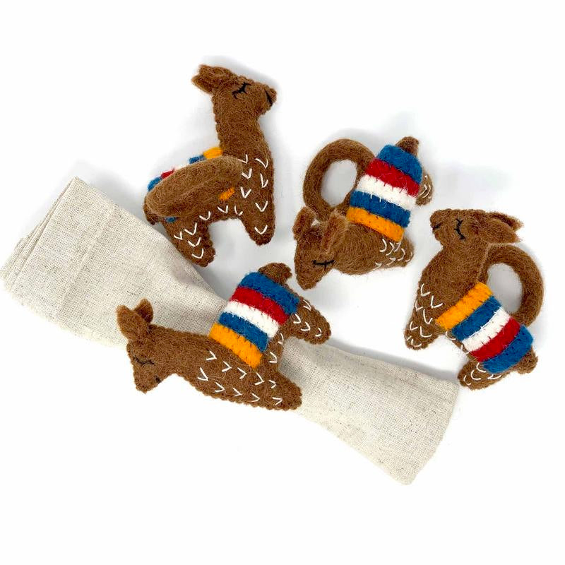 Hand Crafted Felt from Nepal: Set of 4 Napkin Rings, Brown Llamas