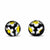 Round Glass Stud Earrings, Black/White and Yellow Flowers - Pack of 3