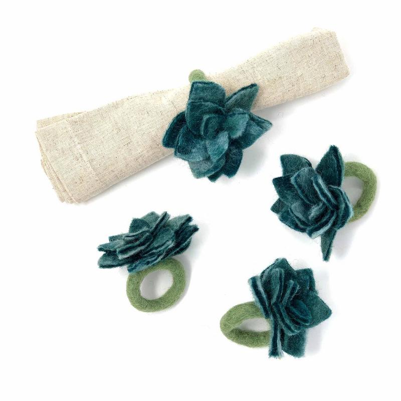 Hand Crafted Felt from Nepal: Set of 4 Napkin Rings, Blue/Green Succulents