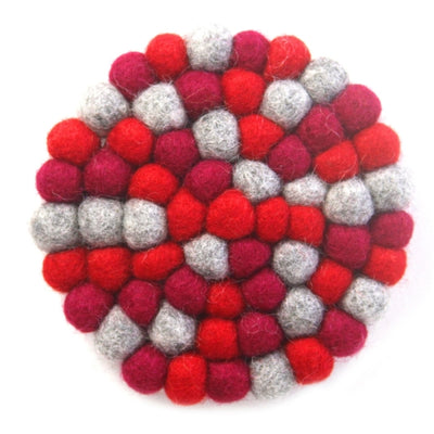 Root Chakra Red Felt Ball Trivet