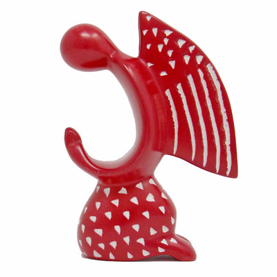 Praying Angel Soapstone Sculpture - Red Finish