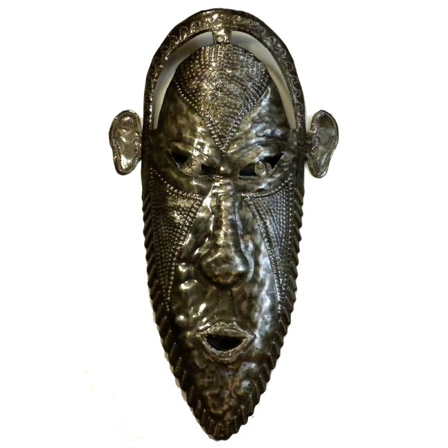 "CLEARANCE Tribal Mask of Wisdom Haitian Metal Drum Wall Art (17"" x 9"")"