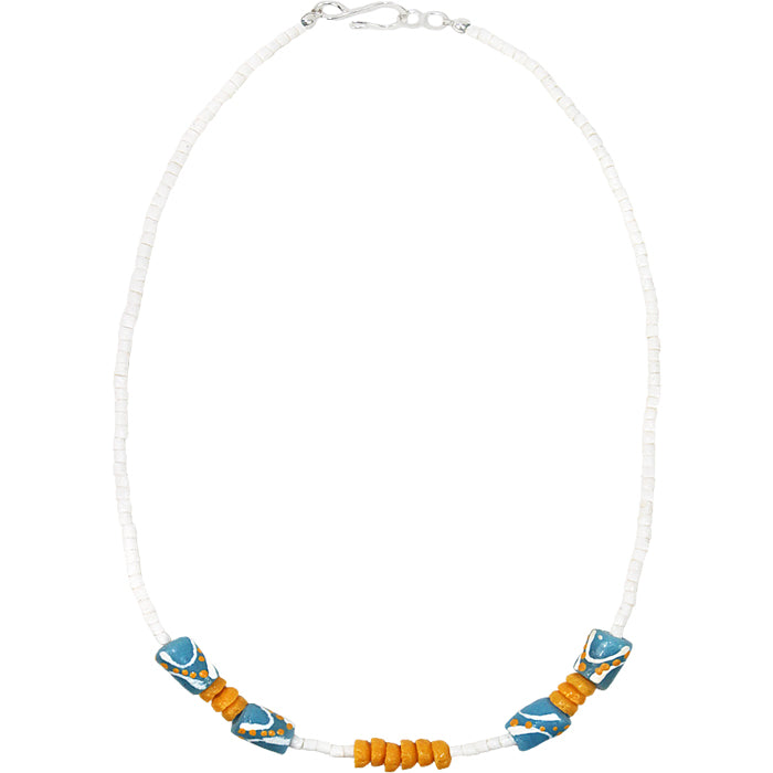 Hand Painted Necklace Light Blue