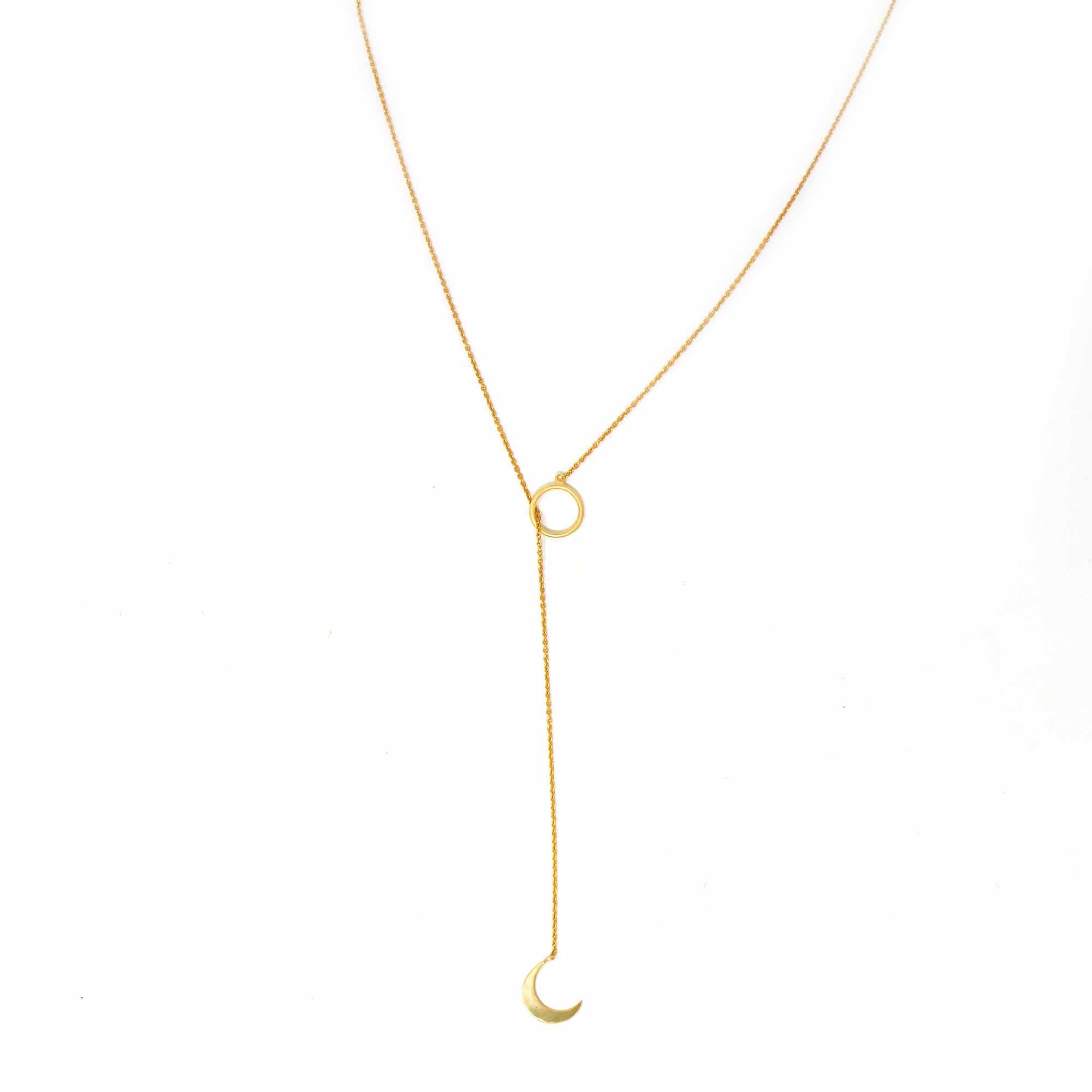 Crescent Moon Goldtone Pendant Necklace - Pack of 3