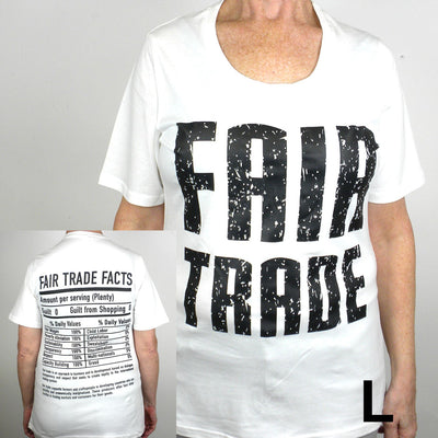 White Fitted Tee Shirt FT Front - FT Facts on Back - Small