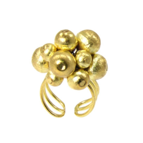 Metallic Ball Bead Rings, adjustable - gold