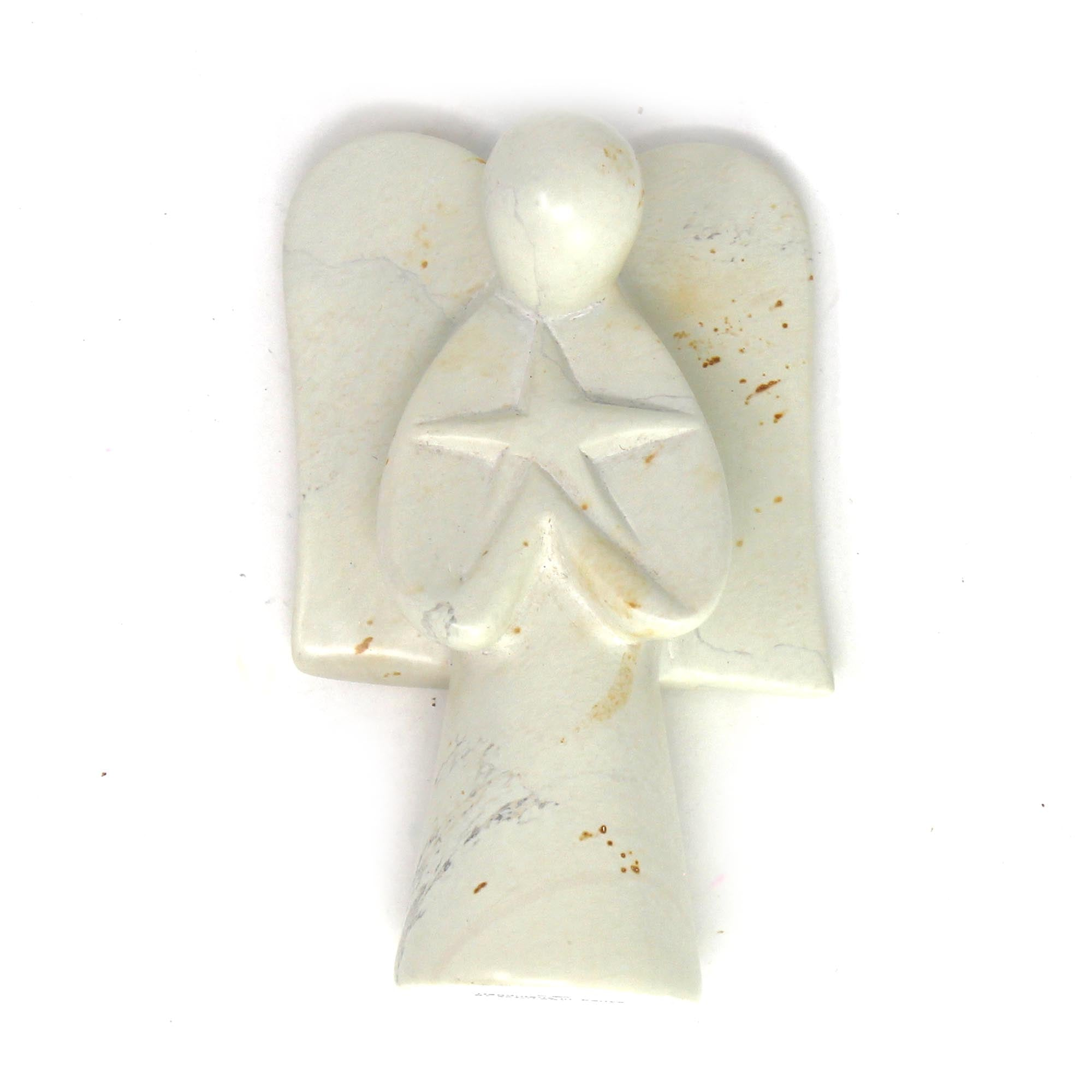 Angel Soapstone Sculpture Holding Star