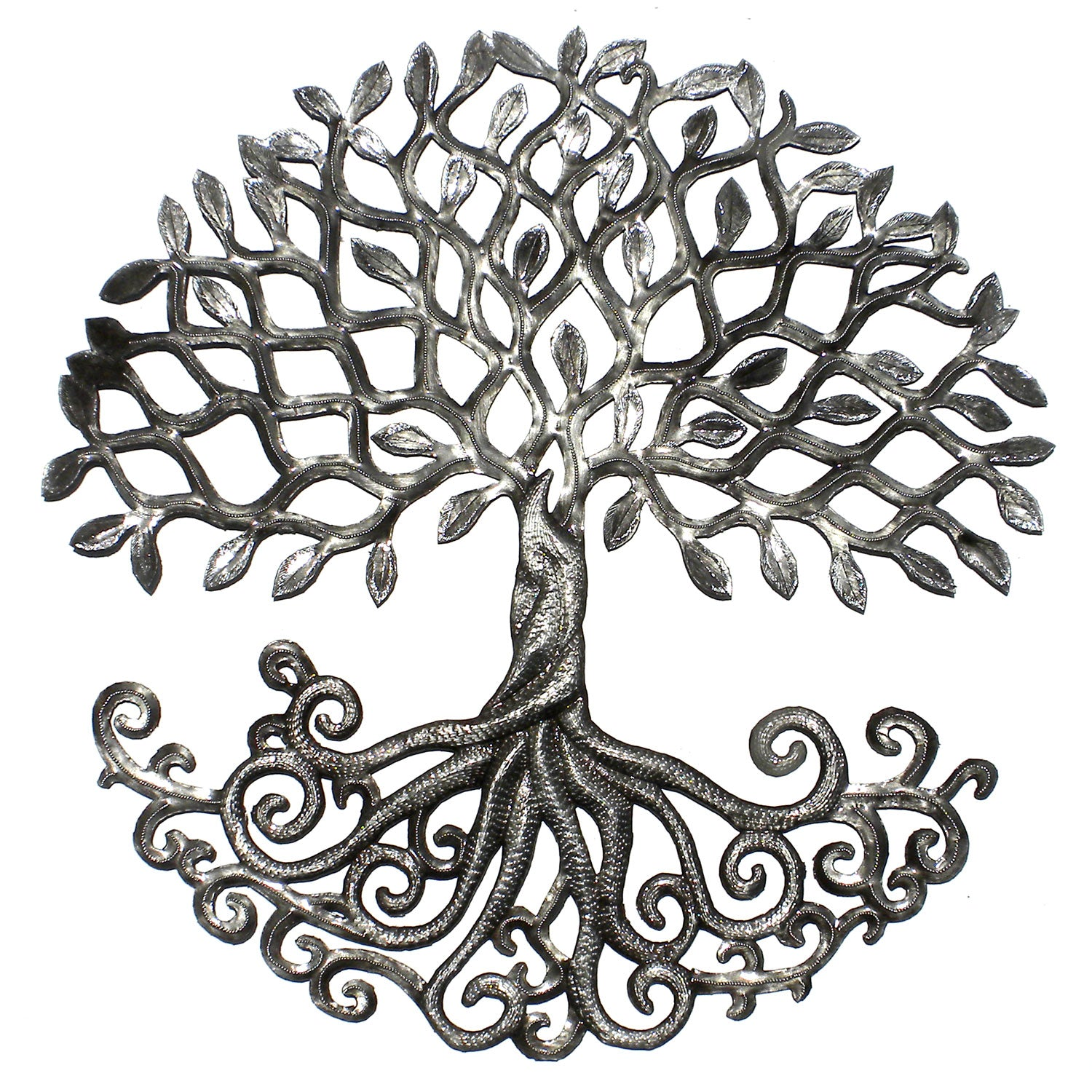 CLEARANCE Rooted Tree of Life Haitian Metal Drum Wall Art, 23""