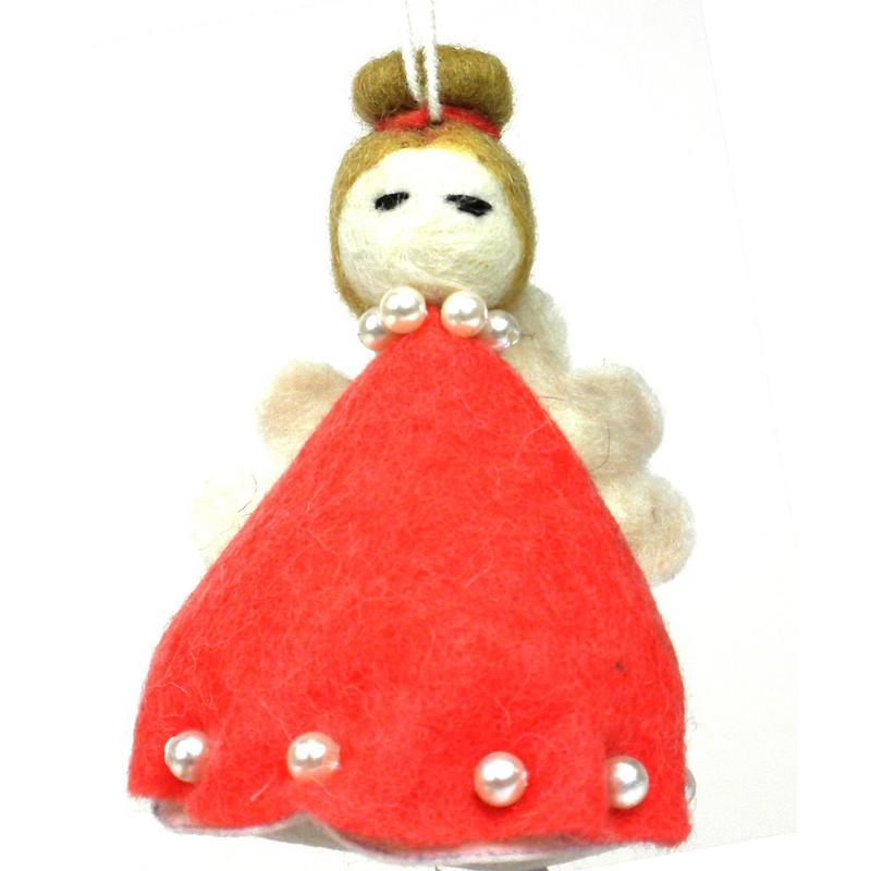 Felt Magic Angel Ornament - Red