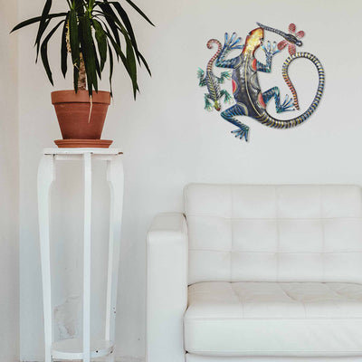 CLEARANCE Geckos & Dragonfly Haitian Metal Drum Wall Art, 24""