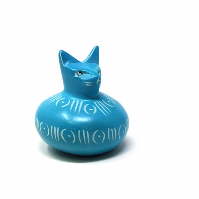 Soapstone Cat Ball - Turquoise