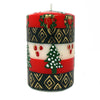 Hand Painted Christmas Pillar Candle in Gift Box - Ukhisimusi Design