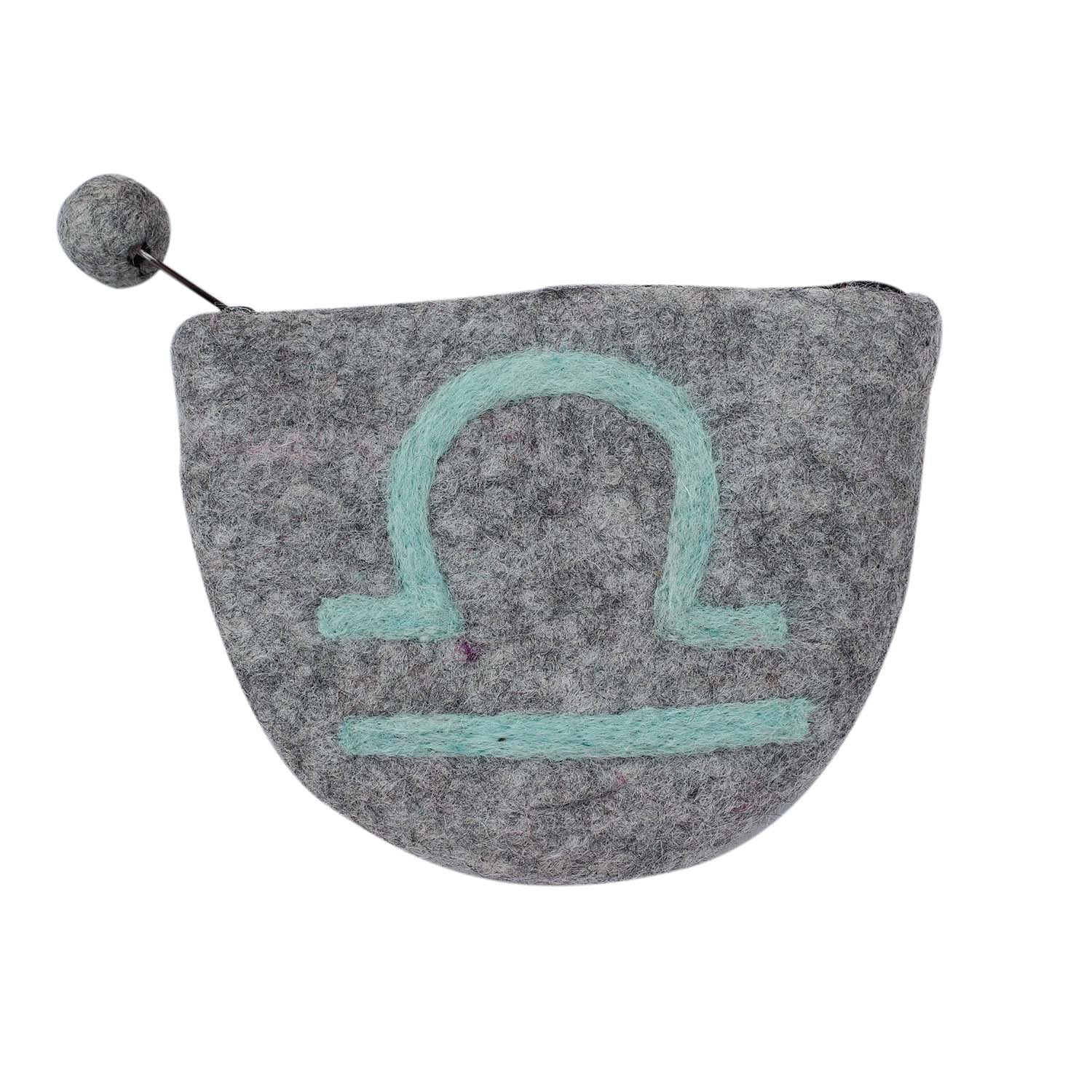 Hand Crafted Felt Pouch from Nepal: Zodiac, Libra