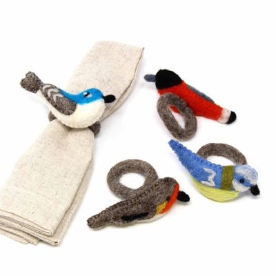 Assorted Birds Felt Napkin Rings, Set of 4