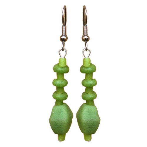 Lime Green Glass Pebbles Earrings