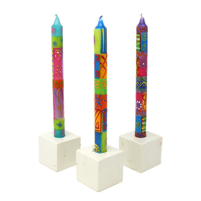 Hand-Painted Dinner Candles, Set of 3 (Shahida Design)