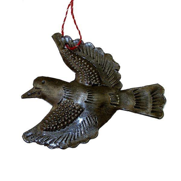 "Dove Haitian Metal Drum Christmas Ornament (2.5"" x 3"")"