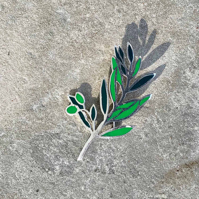 Alpaca Silver Green Leaves Brooch