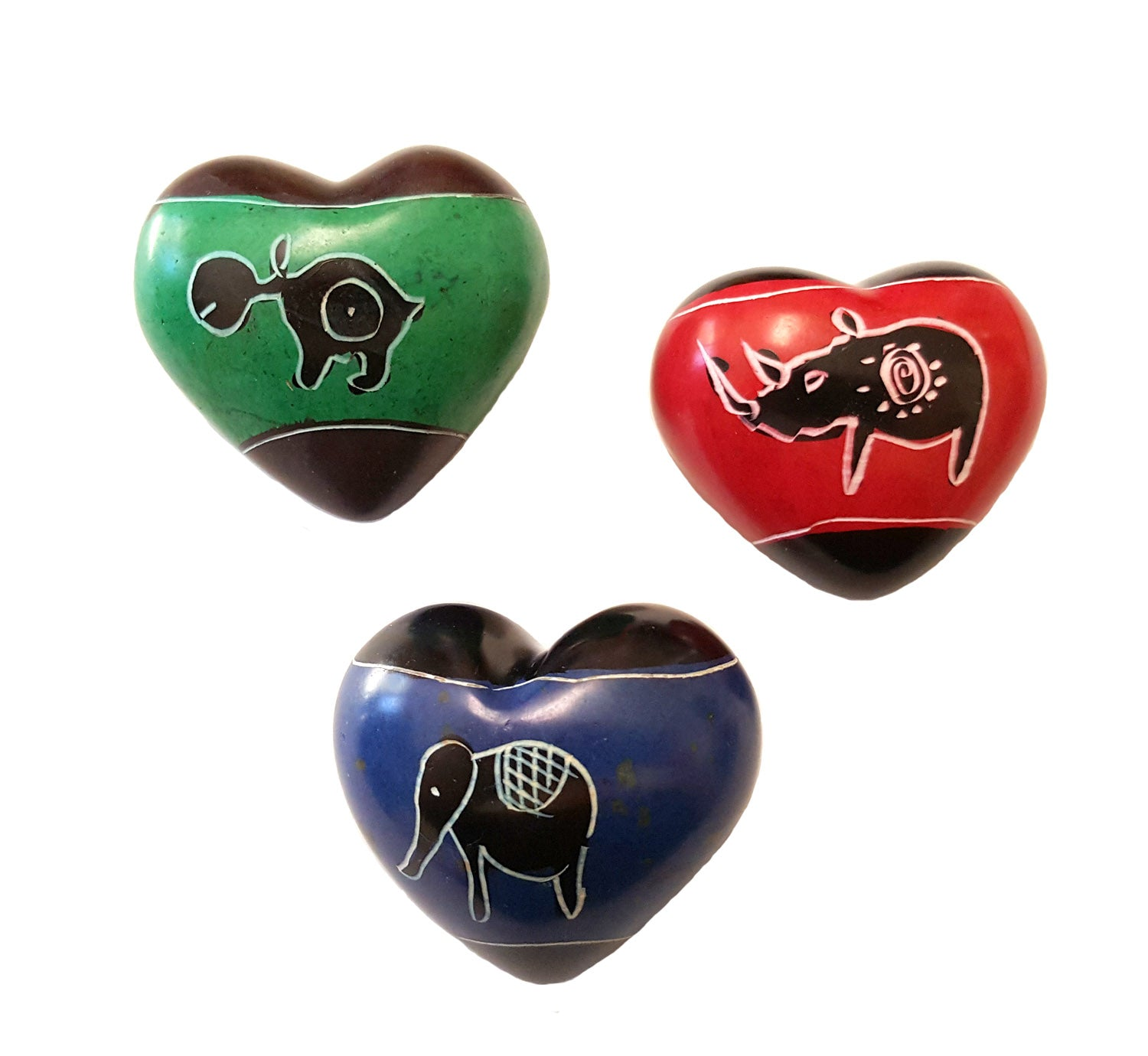 Soapstone Hearts with Assorted Animal Designs - Approx 4cm (1.5 inch)