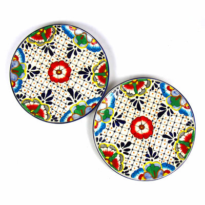Encantada Handmade Pottery 11.75 Set of 2 Dinner Plates, Dots & Flowers