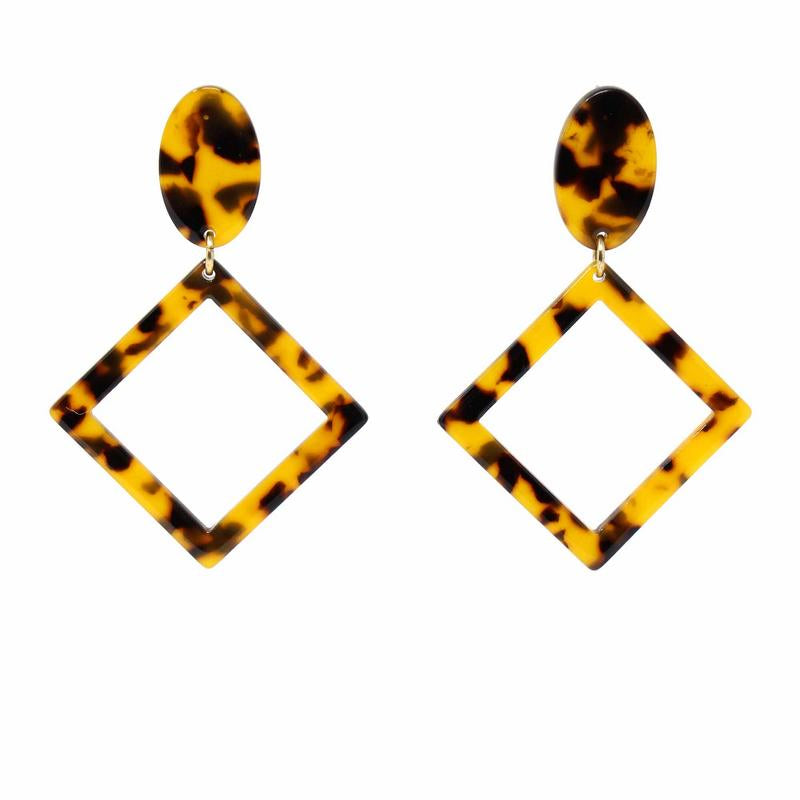 Tortoise Shell Geometric Drop Earrings