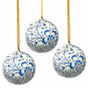 Handpainted Ornaments, Blue Floral - Pack of 3