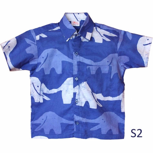 Boys Button Down Shirt - Blueberry Elephant S2