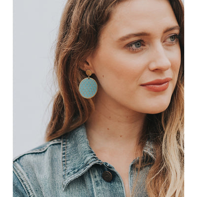 Dhavala Earrings - Teal Coin