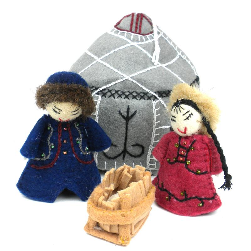 Gray Holy Family Nativity Handmade Wool Ornament Set