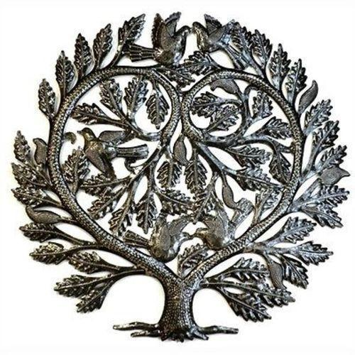Heart Tree of Life Haitian Metal Drum Wall Art, 24""