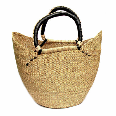 Bolga Tote, Natural with Black Accent and Leather Handle - 18-inch