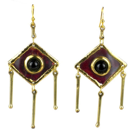 Onyx Tri-Dangles Earrings