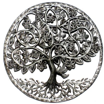 Celtic Spring Tree of Life Ringed Haitian Metal Drum Wall Art, 23""