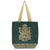 Metallic Ganesha Jute Tote - Forest Green