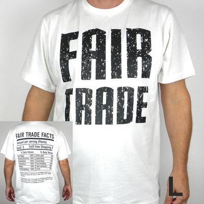 White Tee Shirt Unisex FT Front - FT Facts on Back - Large