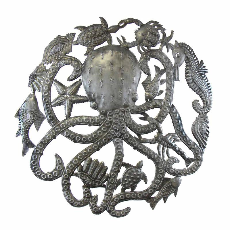 Octopus & Sea Life Nautical Haitian Metal Drum Wall Art, 23""