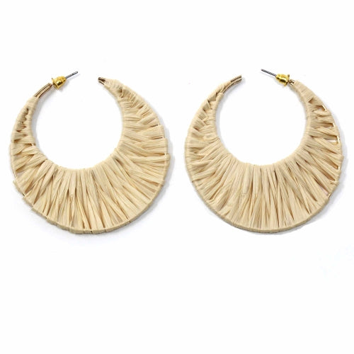 Jo Anna - Straw Wrap Hoop Earrings