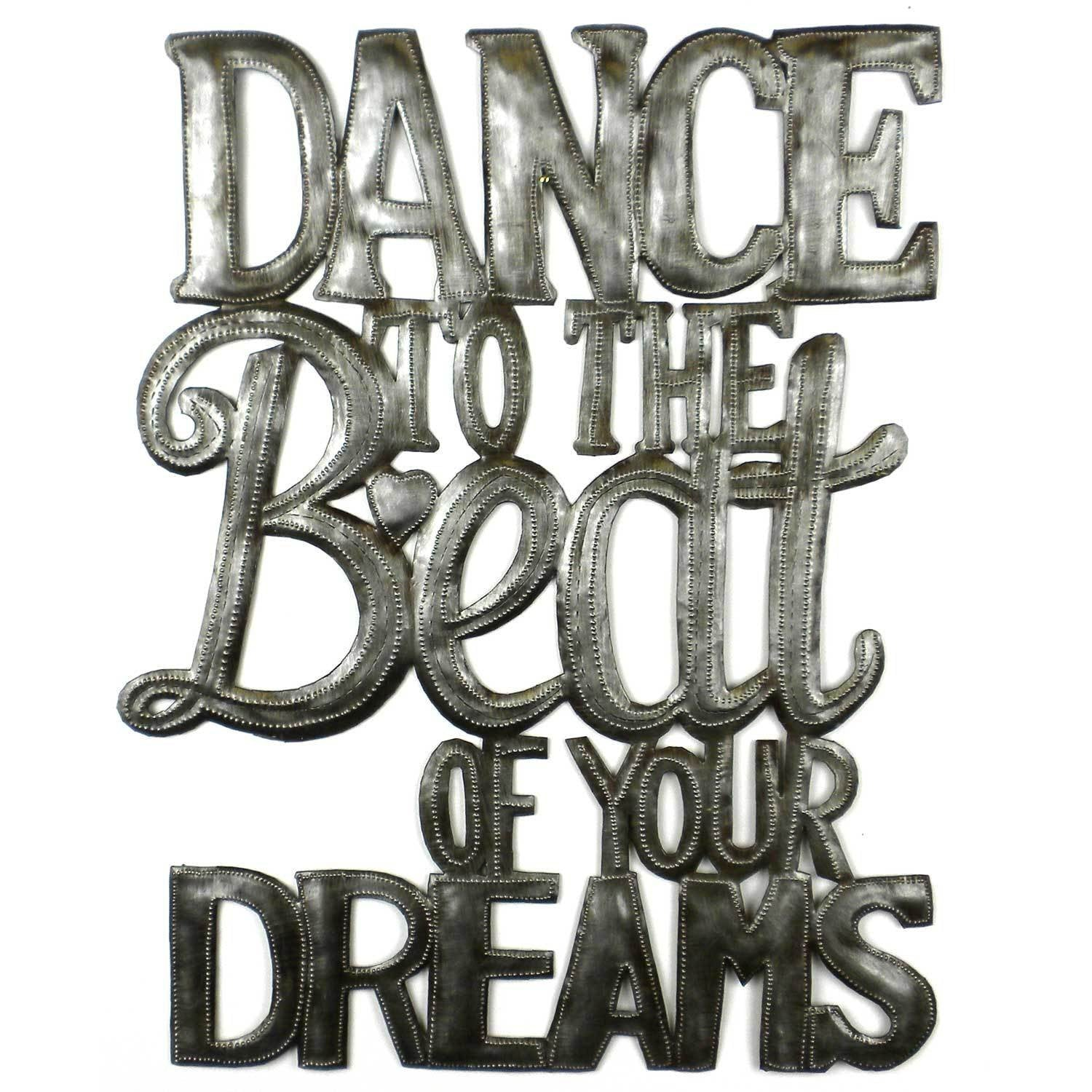 "CLEARANCE ""Dance to the Beat"" Haitian Metal Drum Wall Art, (17"" x 16"")"