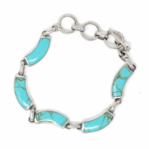 Alpaca Silver and Turquoise Curve Bracelet