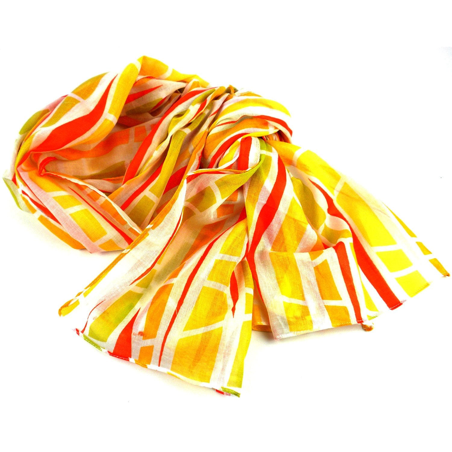Yellow Columns Design Cotton Scarf