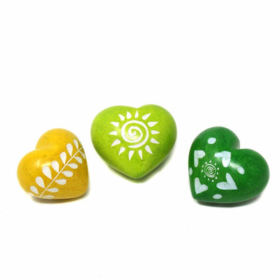Soapstone Hearts in Assorted Colors with Designs- Approx 4cm (1.5 inch)