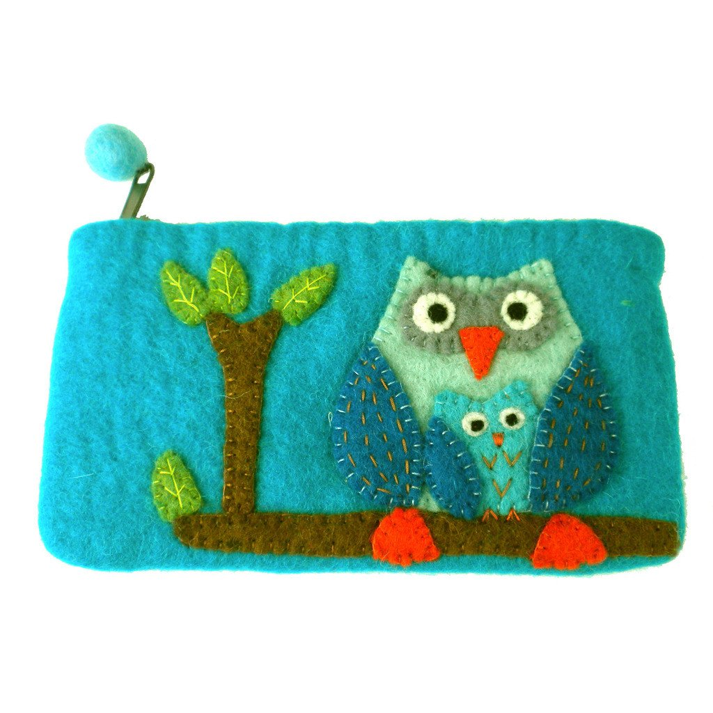 "Hand Crafted Felt Pouch from Nepal: 8"" x 4.5"", Blue Owl"